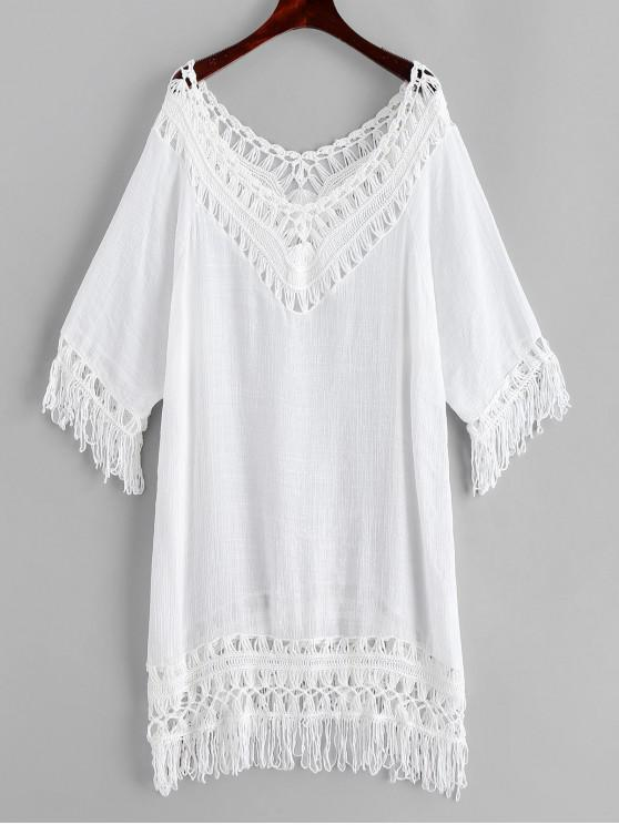 unique Crochet Panel Fringed Tunic Top - WHITE ONE SIZE