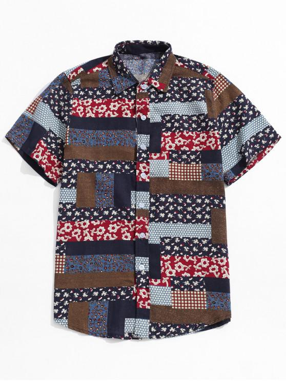latest Ethnic Tribal Graphic Print Button Shirt - MULTI-A 4XL