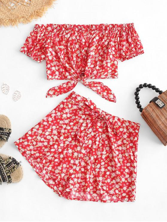 hot ZAFUL Floral Off Shoulder Knot Top and Shorts Set - RUBY RED M