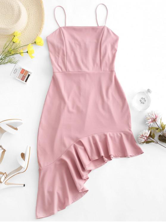 affordable Solid Ruffles Asymmetrical Cami Dress - KHAKI ROSE S