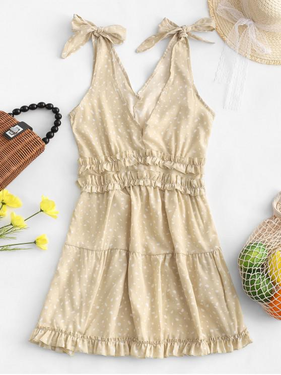 affordable Ruffled Speckled Dots Tied Straps Mini Dress - APRICOT S