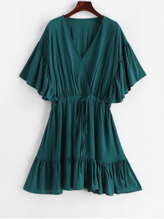 buy Drawstring Kimono Sleeve Mini Dress - GREENISH BLUE L