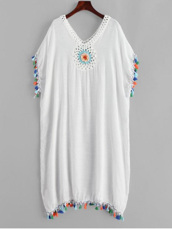 women Colorful Tassels Crochet Panel Beach Dress - WHITE ONE SIZE