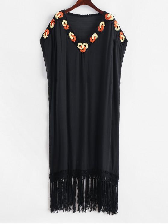 Vestido de playa con flecos y panel de crochet - Negro Talla única