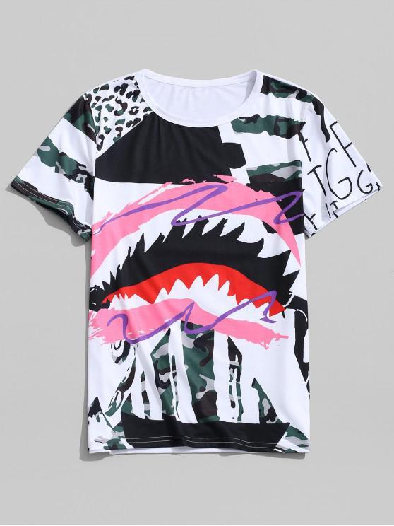 T-shirt col rond imprimé graffitis léopard - Rose Rosé XL