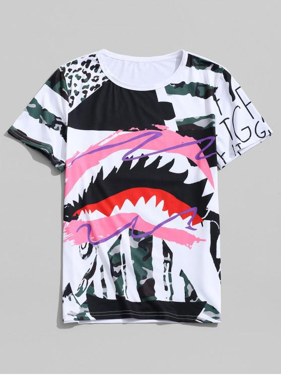 womens Leopard GraffitiPainting Print Round Neck T-shirt - PINK ROSE XL