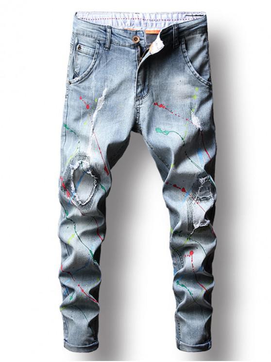 رش الطلاء طباعة باتشورك سروال جينز - ضوء السماء الزرقاء 38