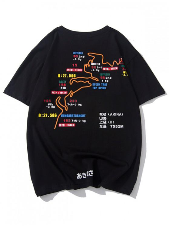 shops Route Map Graphic Print Short Sleeves T-shirt - BLACK M