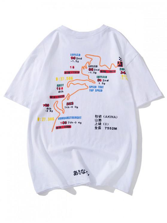 affordable Route Map Graphic Print Short Sleeves T-shirt - WHITE 2XL