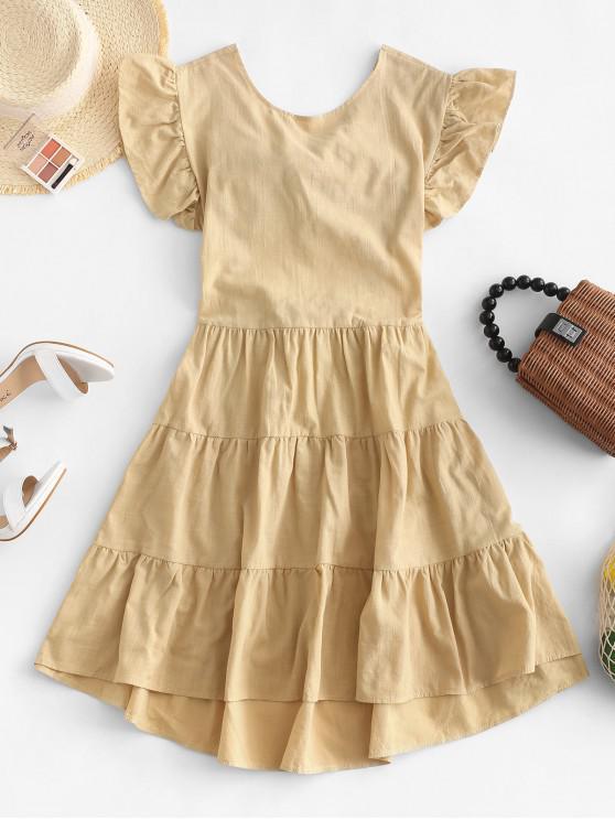 trendy Tied Back Ruffles Mini Dress - BROWN SUGAR S