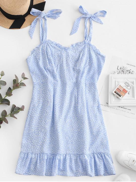 lady ZAFUL Flounce Tie Shoulder Smocked Back Mini Dress - LIGHT BLUE M