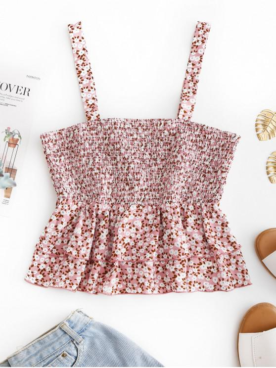 hot ZAFUL Layered Flounce Floral Smocked Top - PINK L