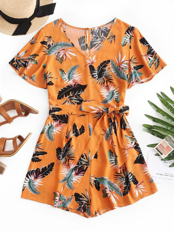 affordable ZAFUL Belted Short Sleeve Leaves Print Romper - ORANGE GOLD L