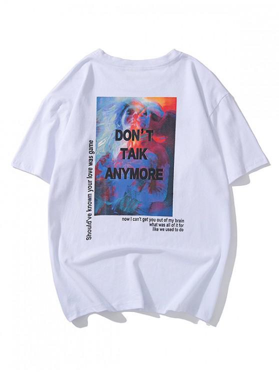 T-shirt Lettre Graphique Peinture Imprimés à Manches Courtes - Blanc XL