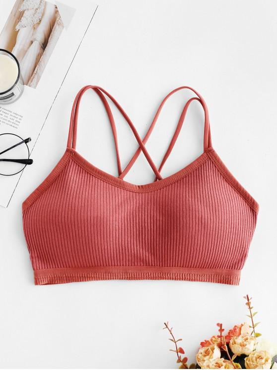 lady Criss Cross Padded Ribbed Bra - LIGHT CORAL ONE SIZE