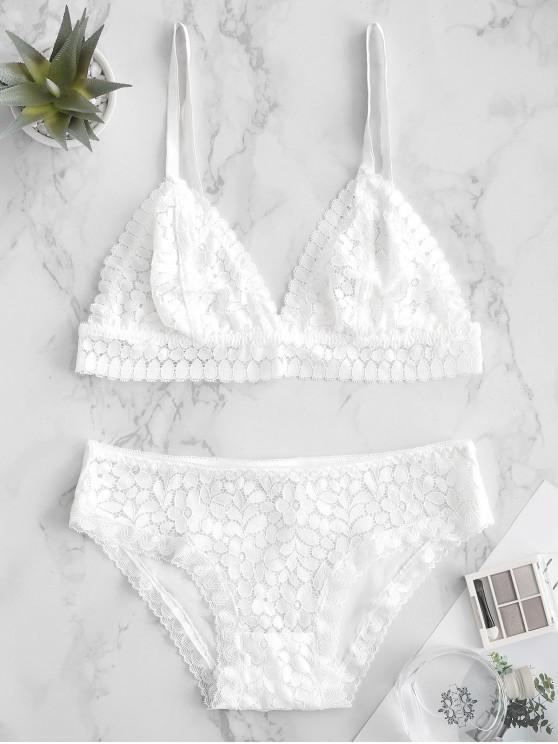 outfit Voile Panel Bralette Lace Bra Set - WHITE M