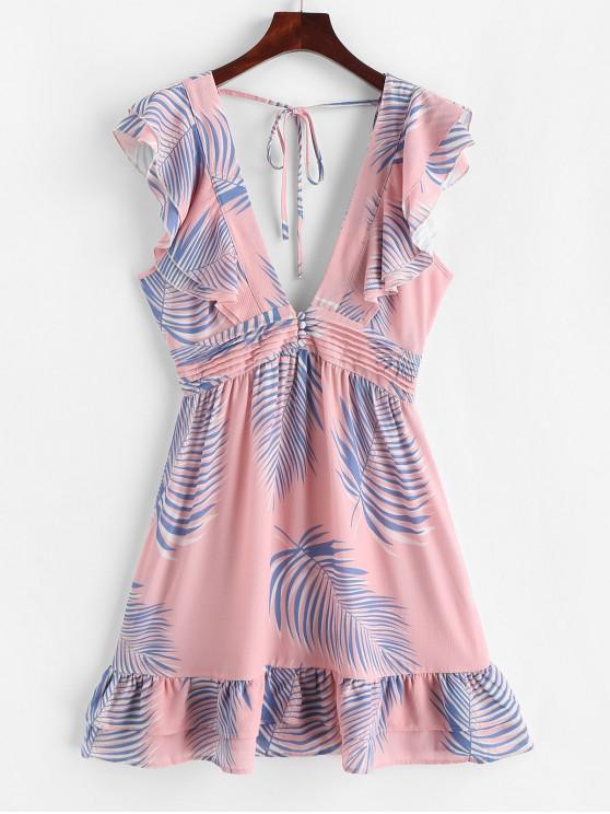 women Layered Leaves Print Ruffles Mini Dress - MULTI M