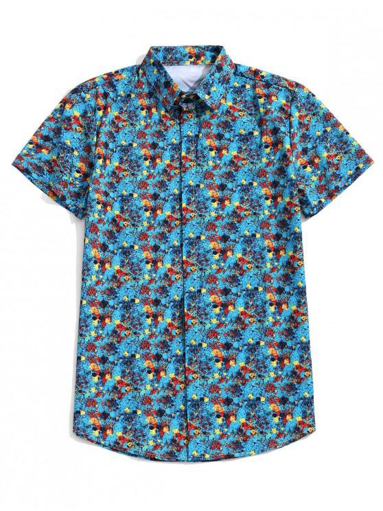 قميص بأكمام قصيرة اللوحة طباعة زر - فيروز XL