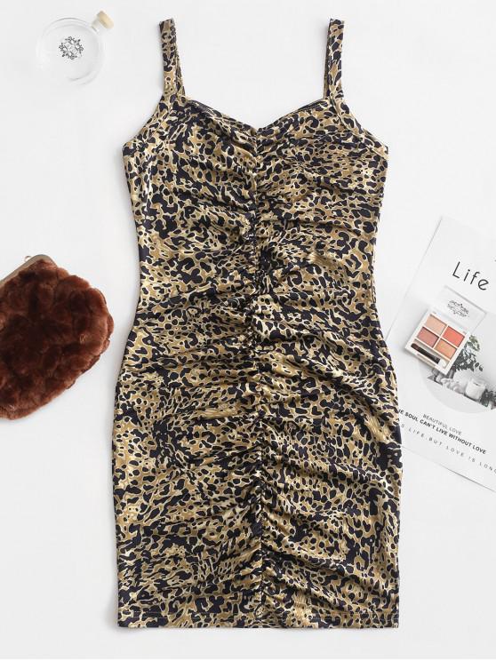 trendy Gathered Leopard Bodycon Mini Dress - LEOPARD S