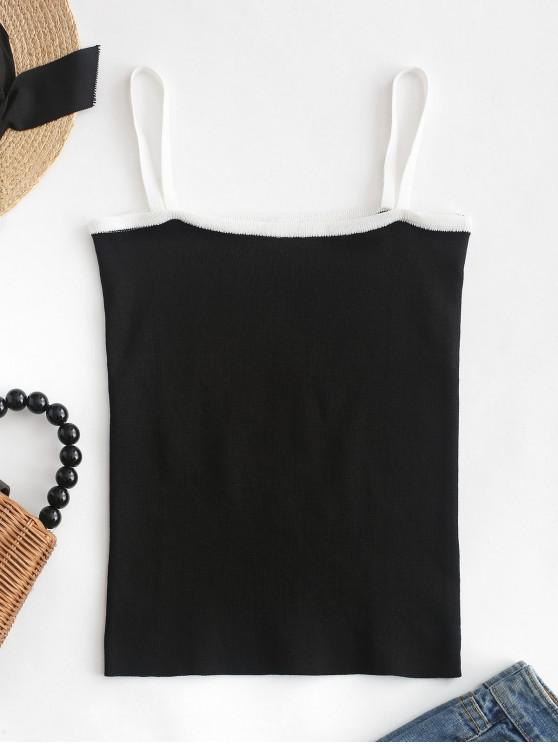 womens Knitted Contrast Cami Top - BLACK ONE SIZE