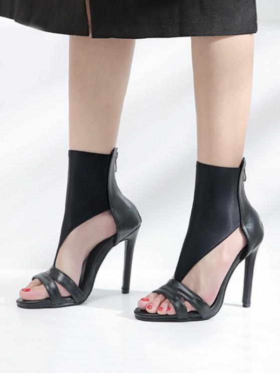 womens High Top T Strap High Heel Sandals - BLACK EU 36