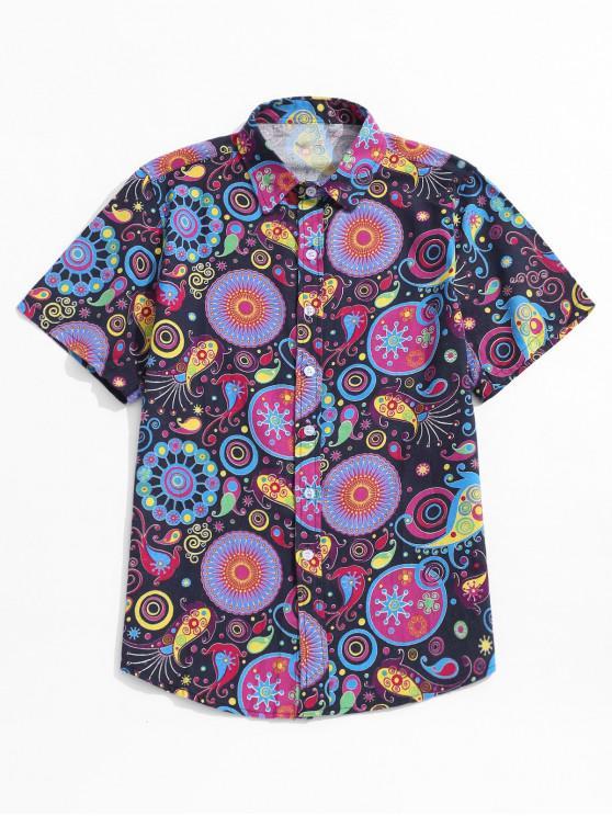 Camisa con estampado tribal de botones de manga corta - Amatista Morada 4XL