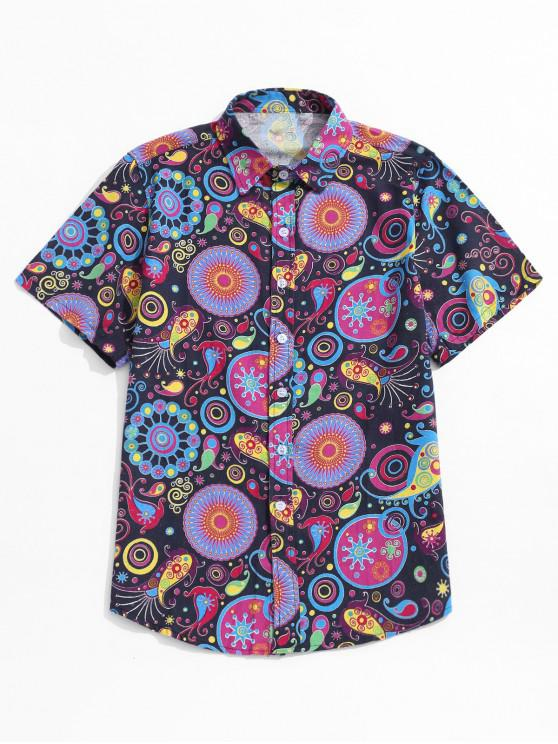 shop Short Sleeves Tribal Pattern Print Button Shirt - PURPLE AMETHYST L