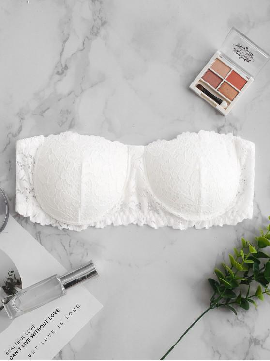 buy Strapless Padded Lace Bra - WHITE ONE SIZE