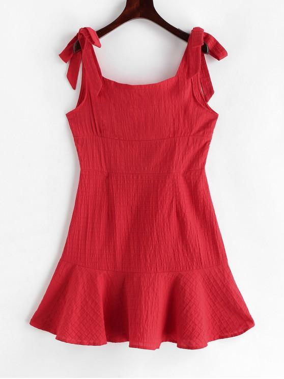 Correas atadas sólidas un mini vestido de línea - Rojo M