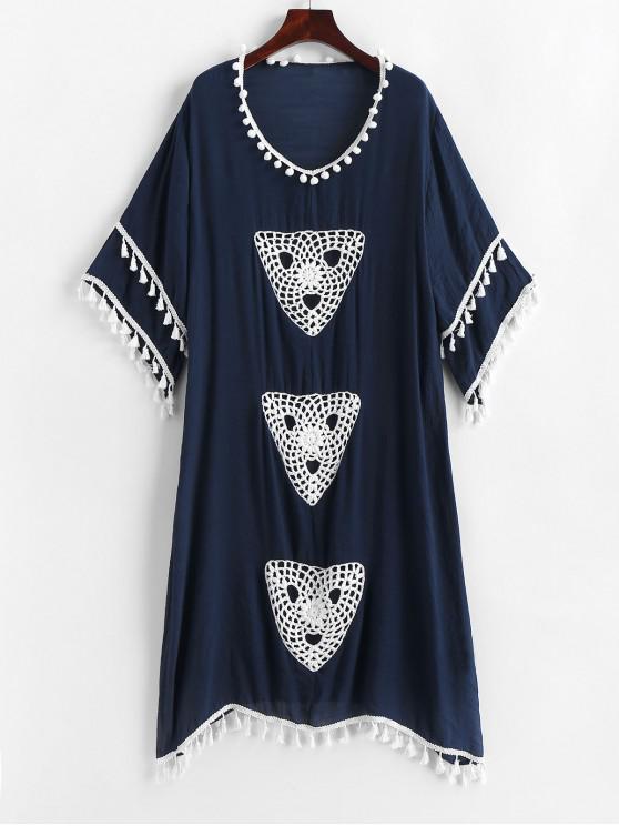 lady Tassels Pom-pom Crochet Panel Beach Dress - DARK SLATE BLUE ONE SIZE