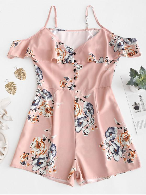 affordable Half Buttoned Floral Cold Shoulder Romper - ROSE S