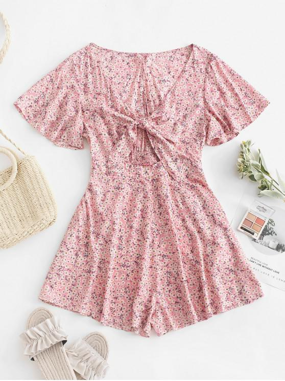 ZAFUL Tie Front Cut Out Floral Romper - Rosa Flamenco S