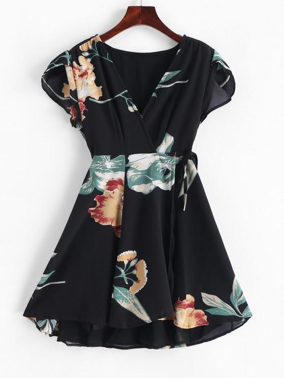 Mini-Robe Enveloppée Fleurie à Col V - Noir M
