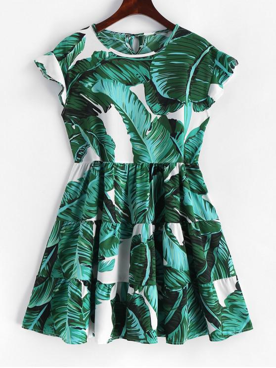 women Palm Leaves Ruffles A Line Mini Dress - GREEN L