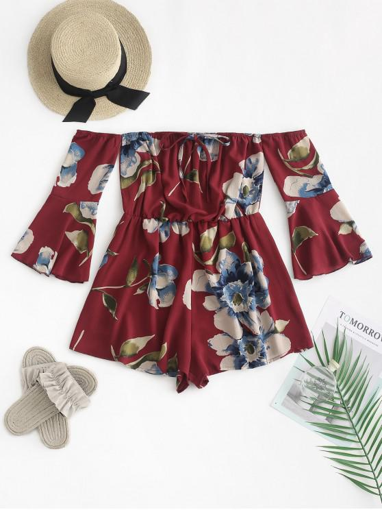 shop ZAFUL Fluted Sleeve Floral Off The Shoulder Romper - RED WINE ONE SIZE