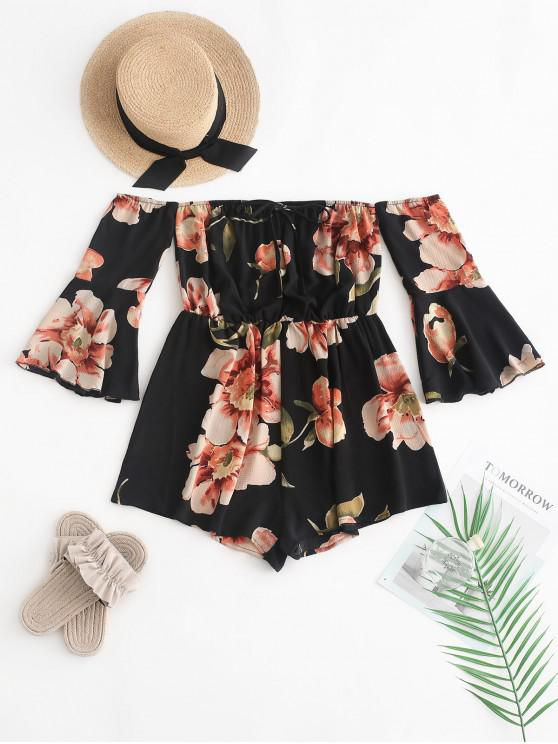 women's ZAFUL Fluted Sleeve Floral Off The Shoulder Romper - BLACK ONE SIZE