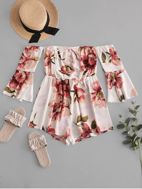 chic ZAFUL Fluted Sleeve Floral Off The Shoulder Romper - WHITE ONE SIZE