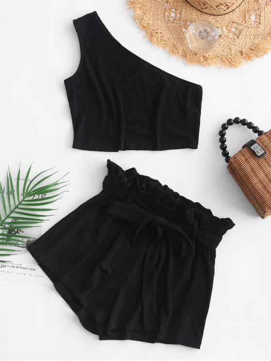 womens ZAFUL Ribbed One Shoulder Paperbag Shorts Set - BLACK S