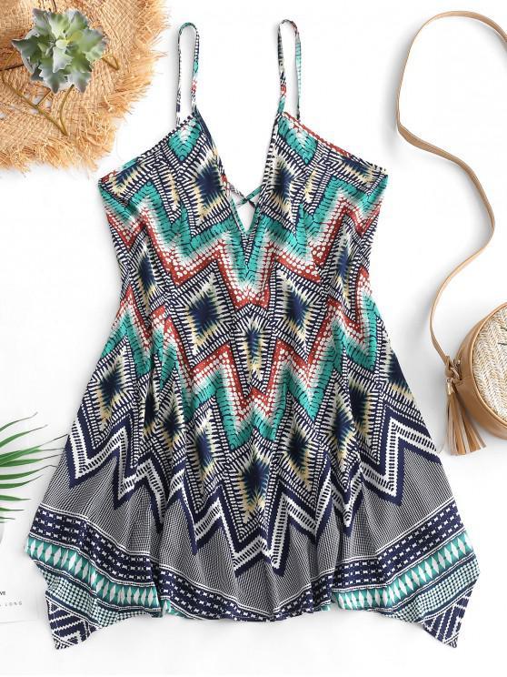 women ZAFUL Geometric Print Cross Cami Tunic Dress - MULTI L