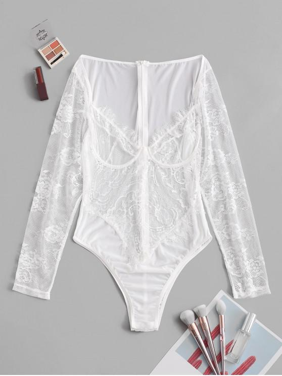 fancy Lace Panel See Thru Voile Lingerie Teddy - WHITE S