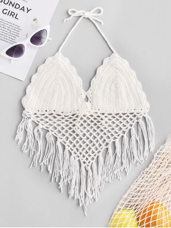 online Halter Fringed Crochet Bikini Top - WHITE ONE SIZE