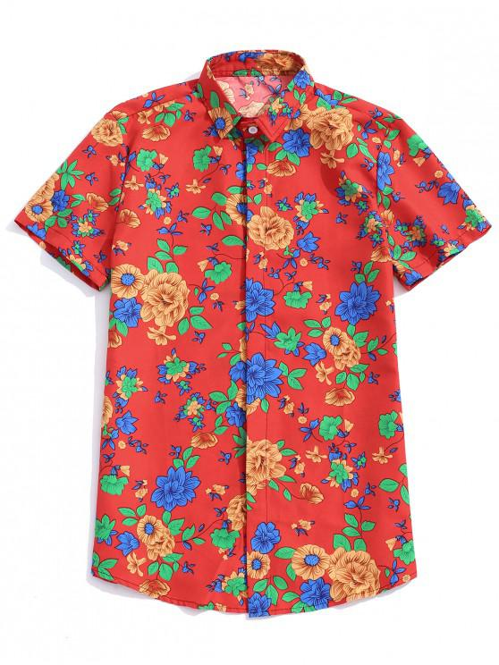 chic Plant Flower Print Short Sleeves Button Shirt - LAVA RED XL