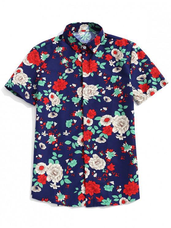 womens Plant Flower Print Short Sleeves Button Shirt - CADETBLUE 3XL