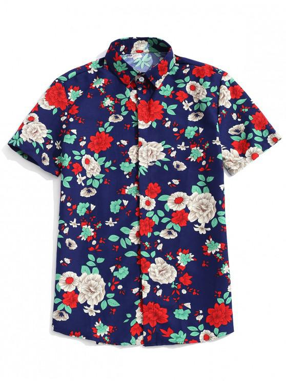 affordable Plant Flower Print Short Sleeves Button Shirt - CADETBLUE XL