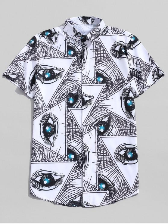 Camisa de botones con estampado de dibujo digital de ojos - Blanco 2XL
