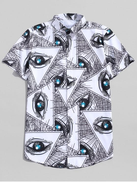 online Digital Eye Drawing Print Button Up Shirt - WHITE 2XL