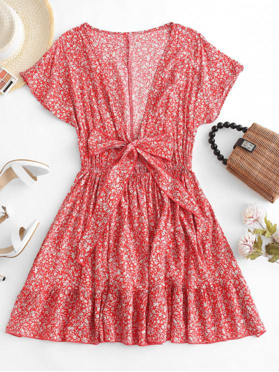 women Floral Tie Front Mini Dress - RED L