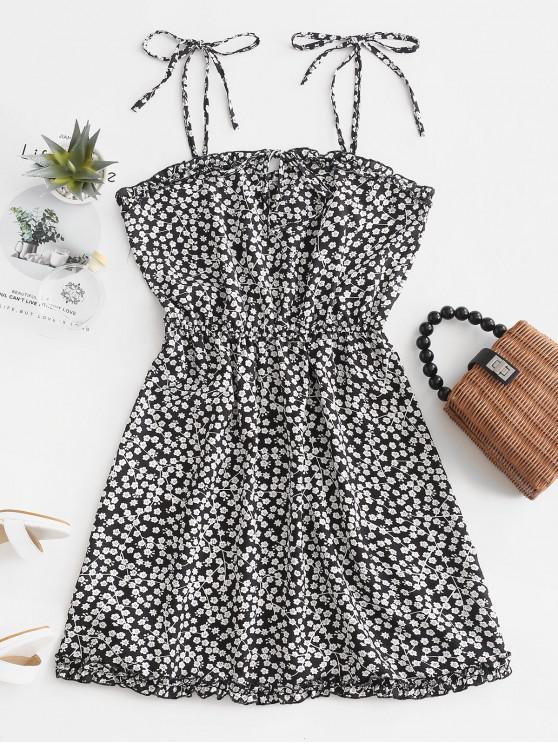 hot Tied Collar Floral Cami Mini Dress - BLACK XL