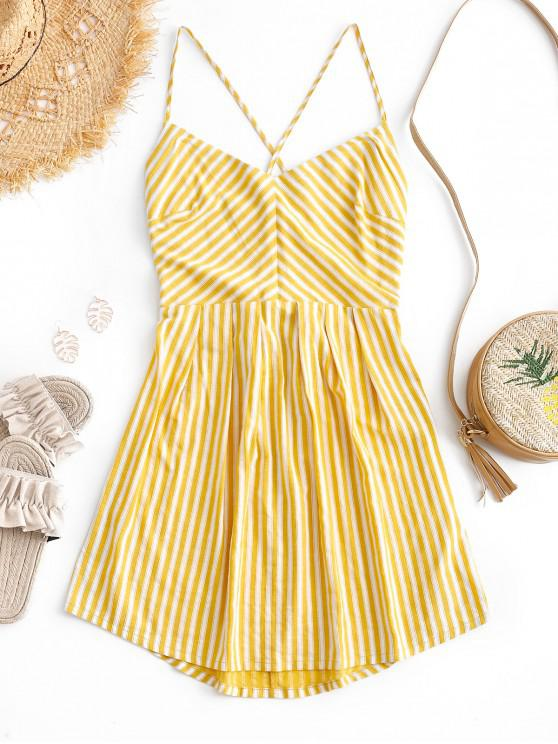 trendy ZAFUL Lace-up Striped Spaghetti Strap Mini Dress - BEE YELLOW M