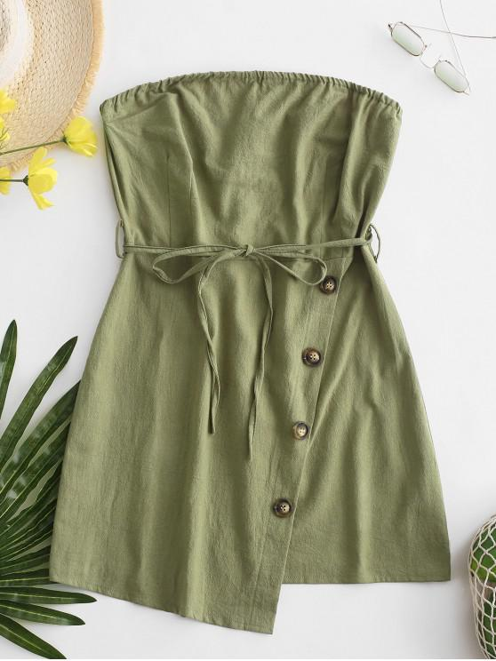 chic Belted Buttoned Overlap Tube Dress - GREEN S
